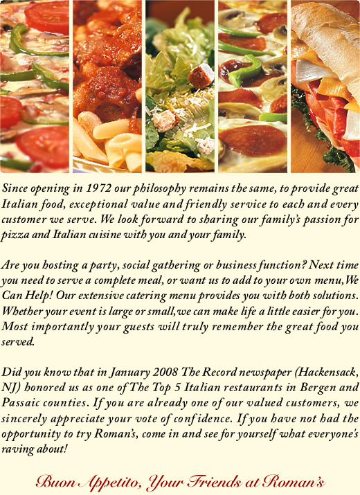 Roman Pizza & Restaurant About Us